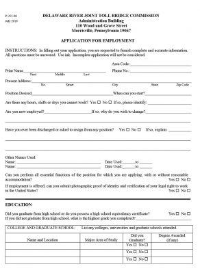 2019 Job Application Form