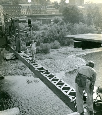 Flood ravaged Northampton Street Bridge restored and reopened October 23, 1957.